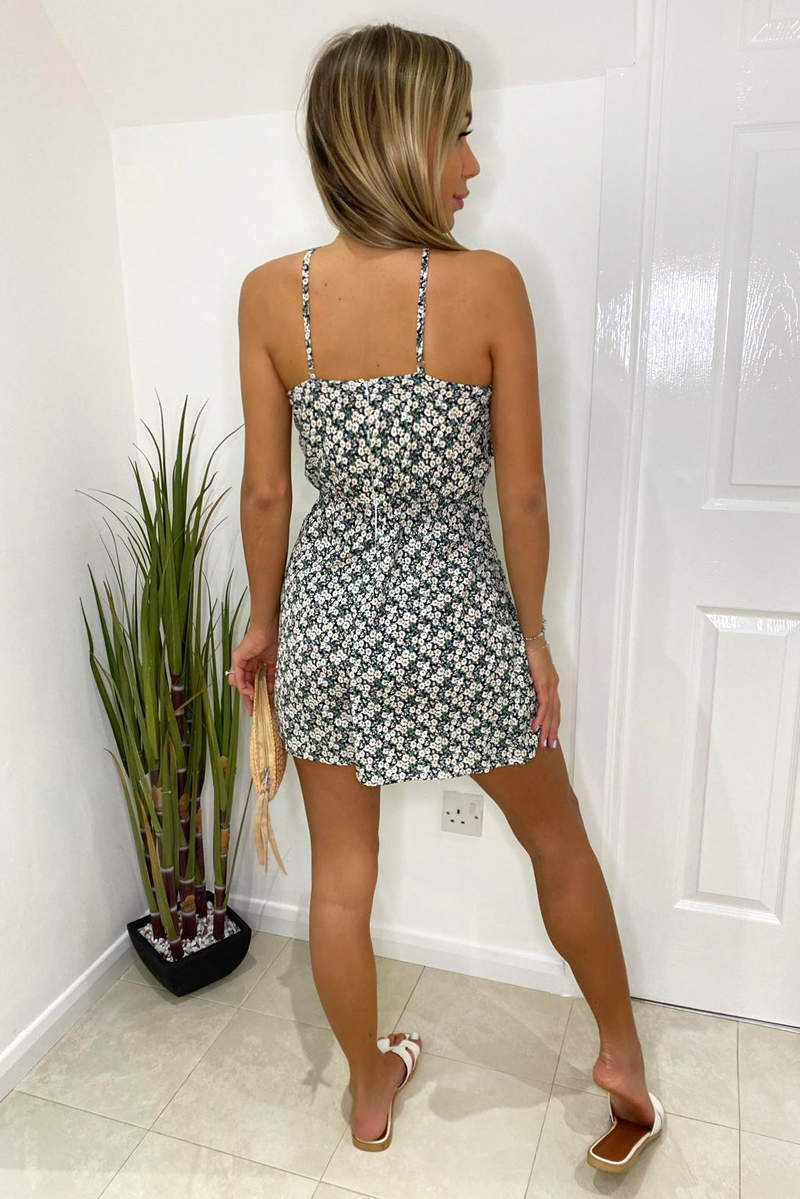 Black Daisy Print High Neck Playsuit
