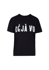 Black Deja Vu Slogan T-Shirt