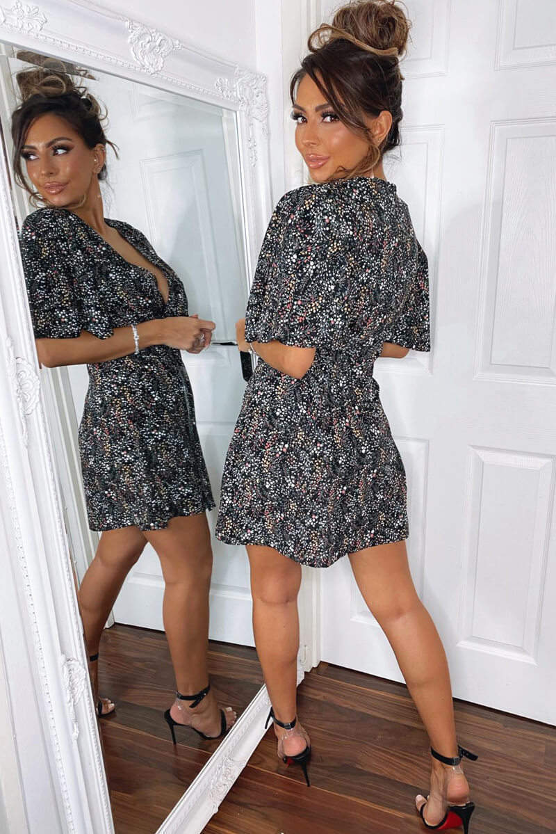 Black Ditsy Floral Flared Sleeve Pleat Dress
