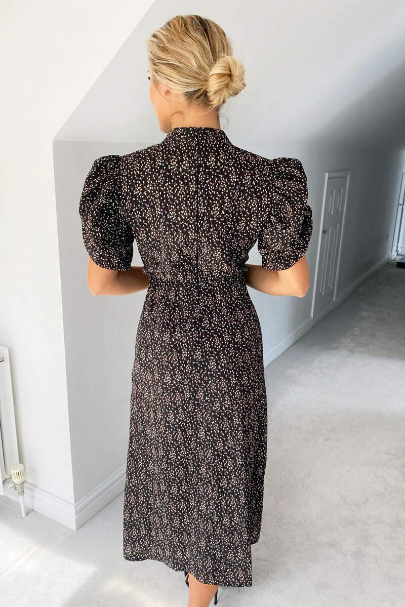 Black Ditsy Floral Puff Sleeve Midi Dress