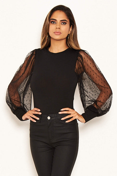 Black High Neck Gathered Bodysuit