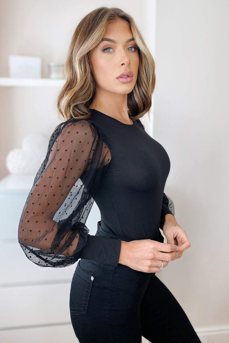 Black Dobby Mesh Long Sleeve Bodysuit