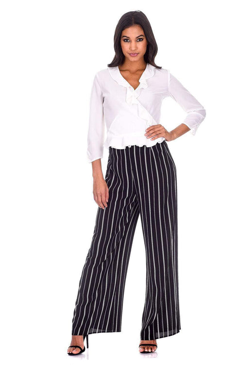 Black Double Striped Flared Trousers