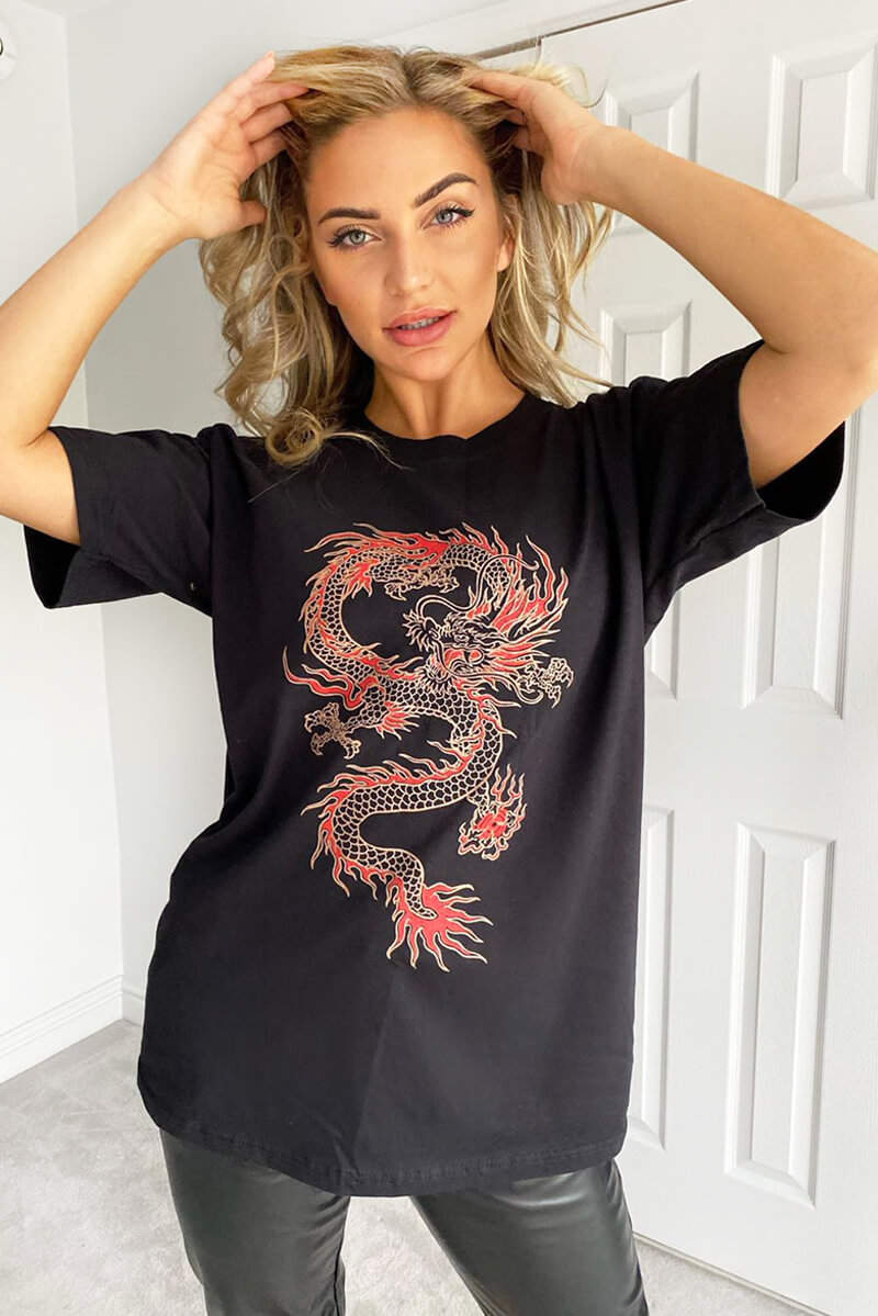 Black Dragon Printed Oversized Tee