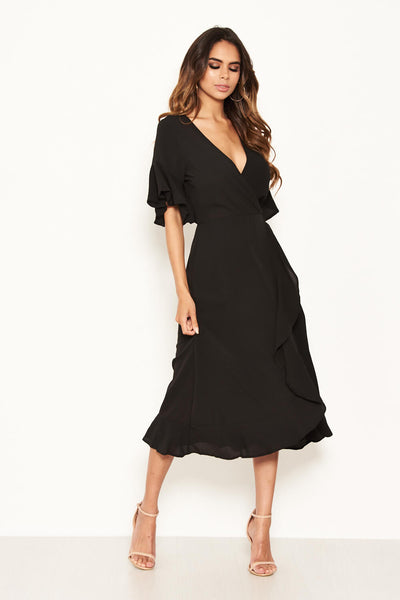 Black Midi Dress With Frill Hem And Sleeves