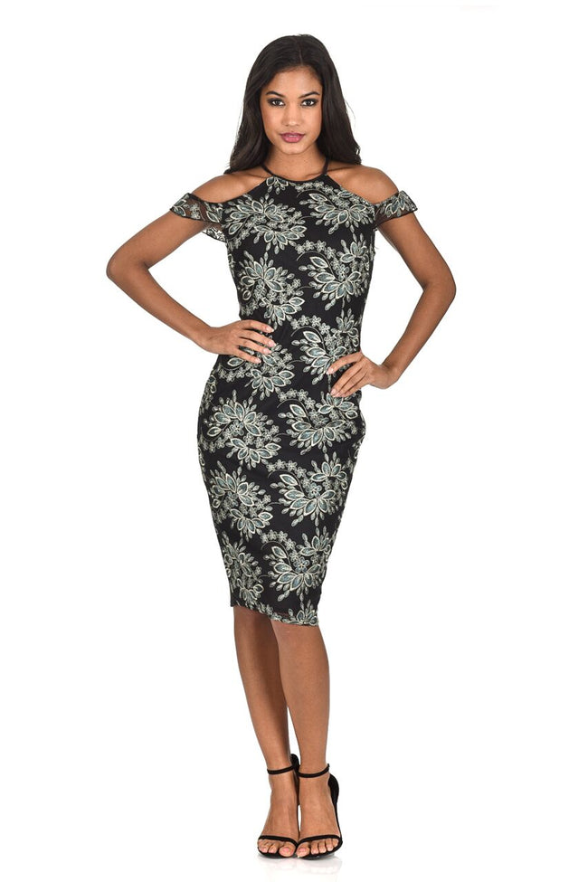 Black Embroidered Capped Sleeve Bodycon Dress