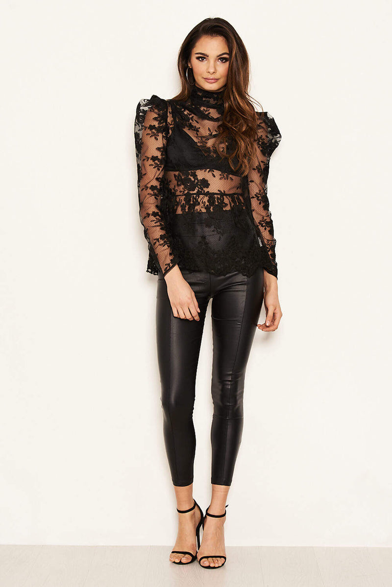 Black Embroidered Sheer Puff Sleeve Top