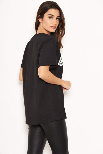 Face Print Black T-Shirt