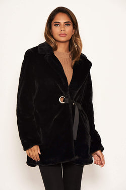 Black Faux Fur Circle Belted Coat