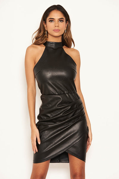 Black Faux Leather Ruched Dress
