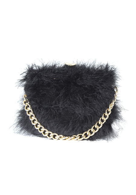 Black Chain Detail Clutch Bag