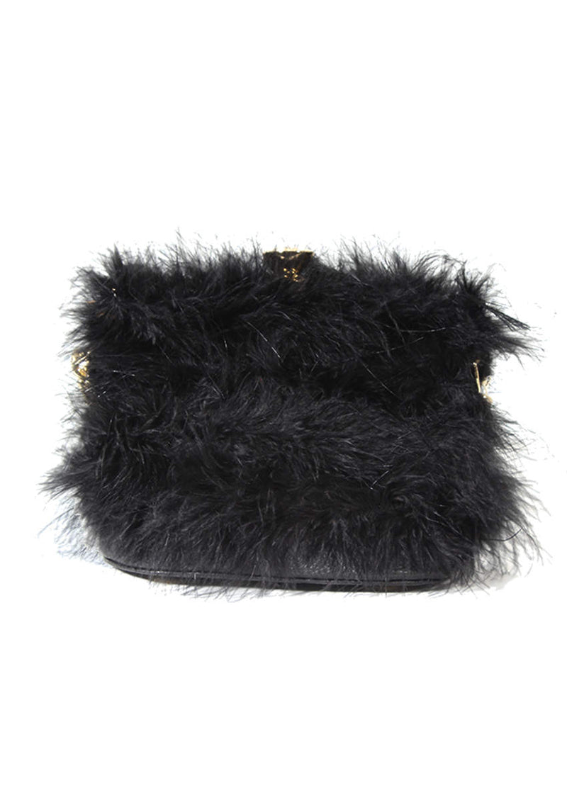 Black Feather Gold Chain Clutch Bag