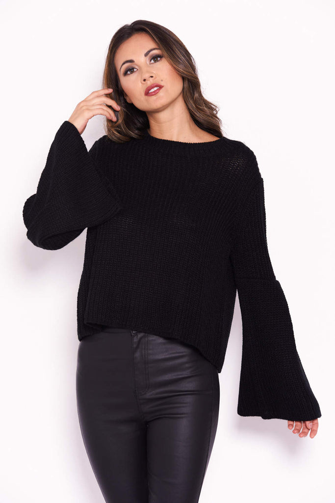 Black Flare Sleeve Knitted Jumper