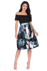 Black Floral 2 in 1 Skater Dress
