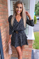 Black Floral Abstract Tiered Mini Dress
