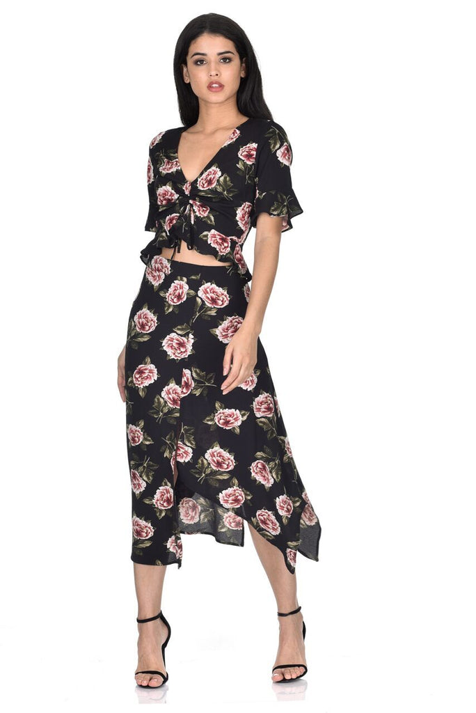 Black Floral Asymmetric Hem Skirt