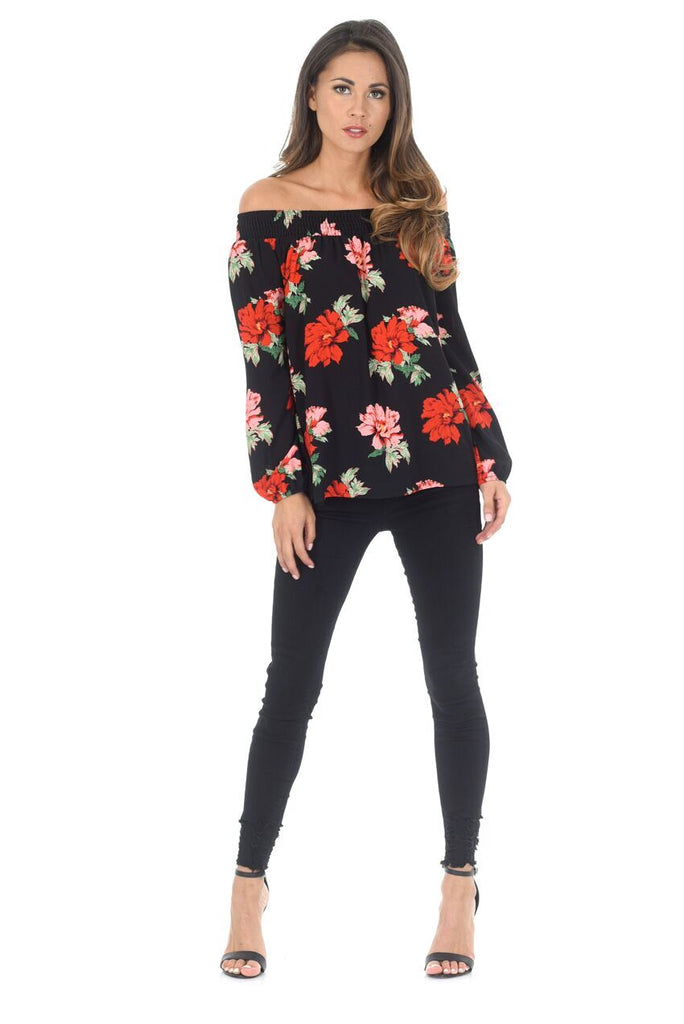 Black Floral Bardot Top