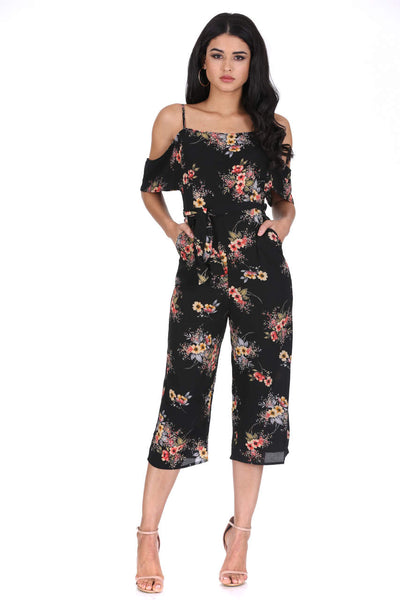 Black Floral Cold Shoulder Jumpsuit