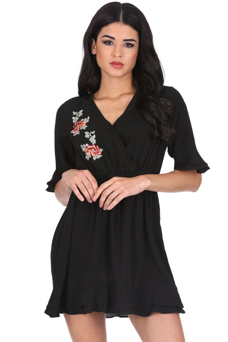 Black Floral Embroidered Frill Detail Dress