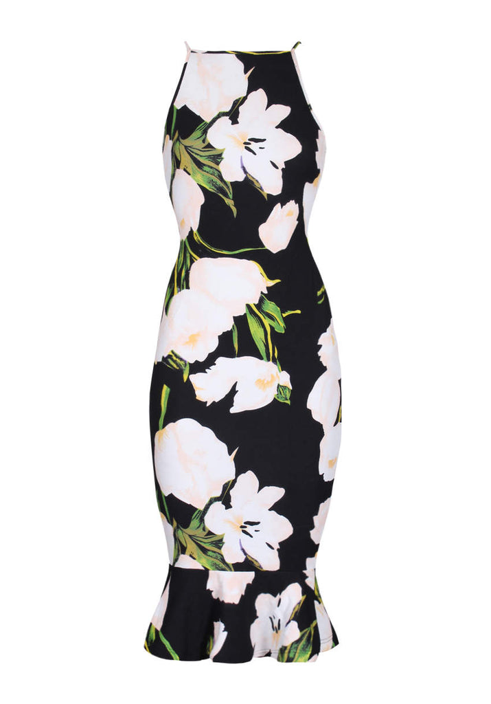 Black Floral Fishtail Hem Midi Dress