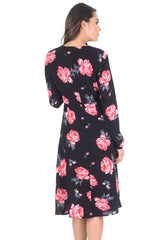 Black Floral Floaty Dress with Tie Detail