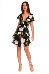 Black Floral Frill Detail Dress