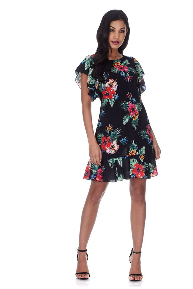 Black Floral Frill Detail Mini Dress