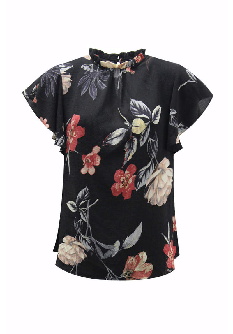 Black Floral Frill Floaty Top