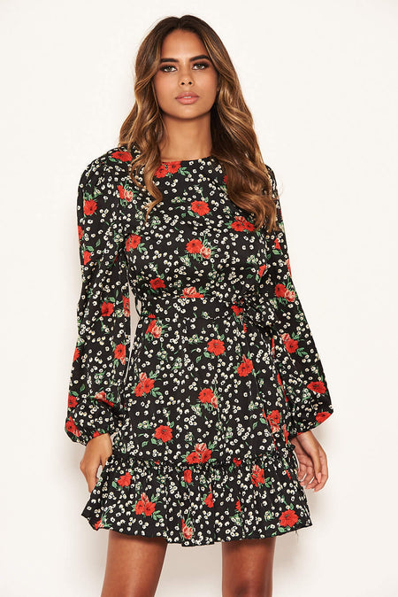 Red Ditsy Floral Square Neck Frill Dress