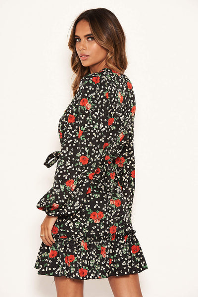 Black Floral Frill Hem Dress