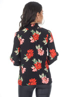 Black Floral Frill High Neck Top