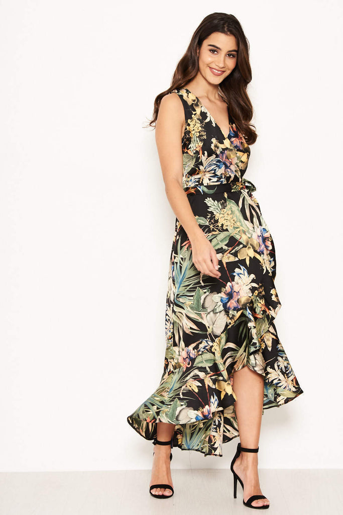 Black Floral Frill Midi Dress