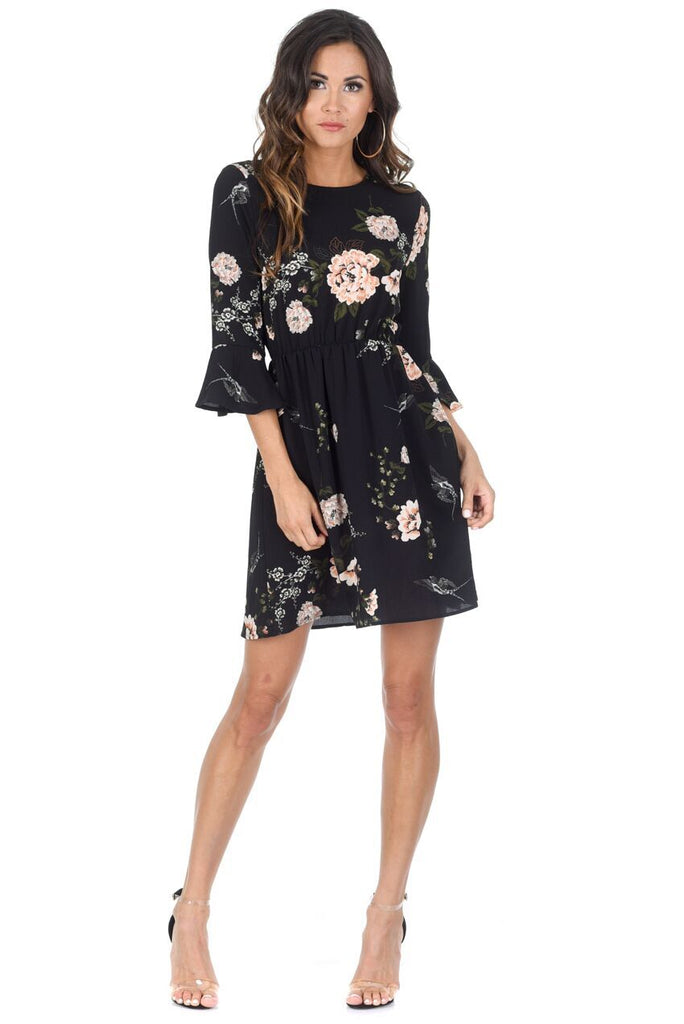 Black Floral Frill Throw On Dress