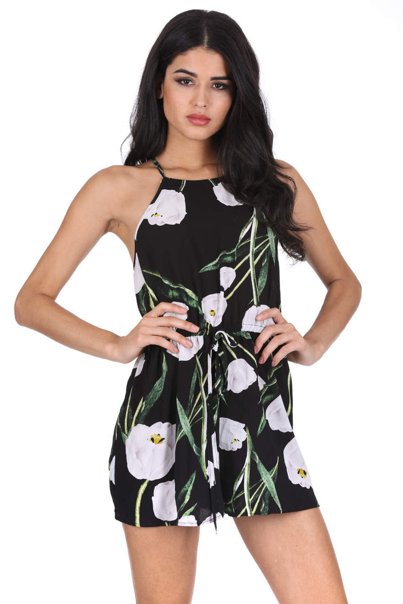 Black Floral Halter Neck Playsuit