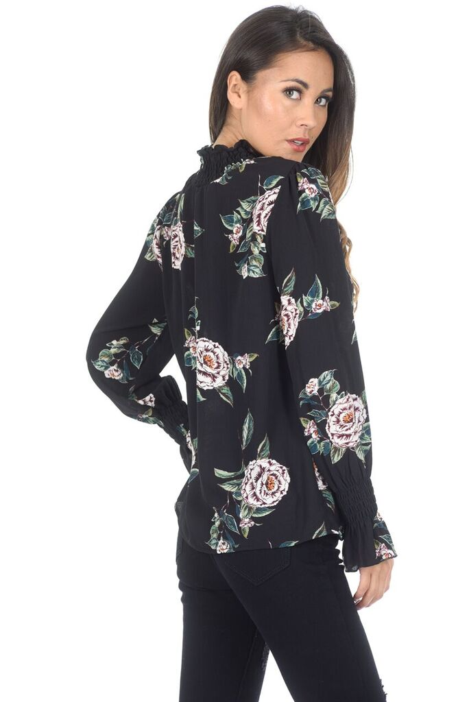 Black Floral High Neck Frill Top