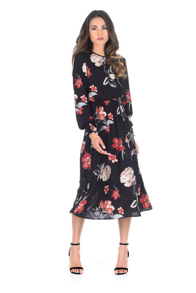 Black Floral Long Sleeve Elastic Waist Midi Dress
