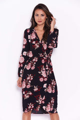 Black Floral Long Sleeve Wrap Dress