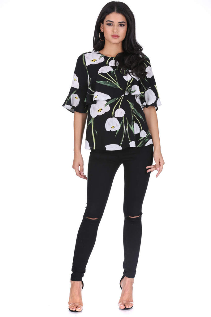 Black Floral Midi Sleeve Top