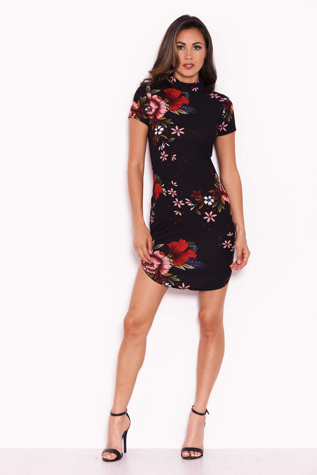 Black Floral Mini Dress With High Neck