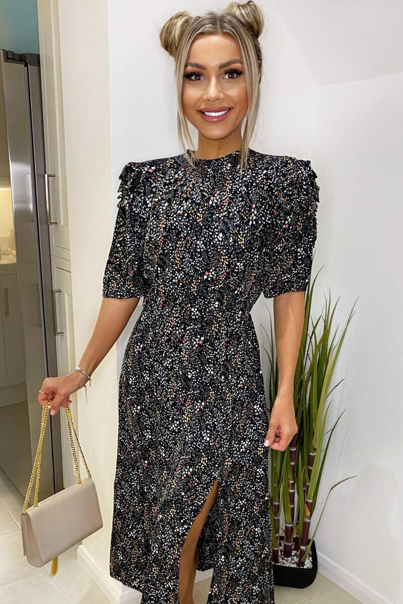 Black Floral Pleated Puff Sleeve Midi Dress