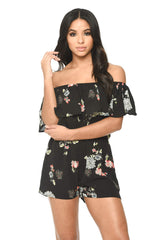 Black Floral Print Bardot Playsuit