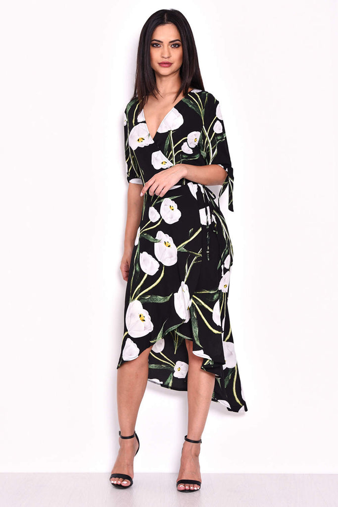 Black Floral Print Wrap Dress