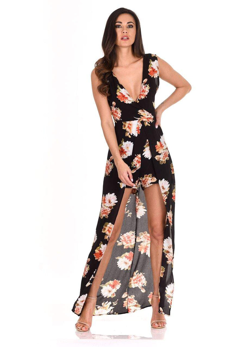 Black Floral Print Wrap Skirt Playsuit