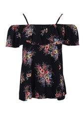 Black Floral Printed Off The Shoulder Frill Top