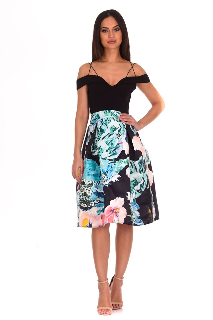Black Floral Printed Skater Dress