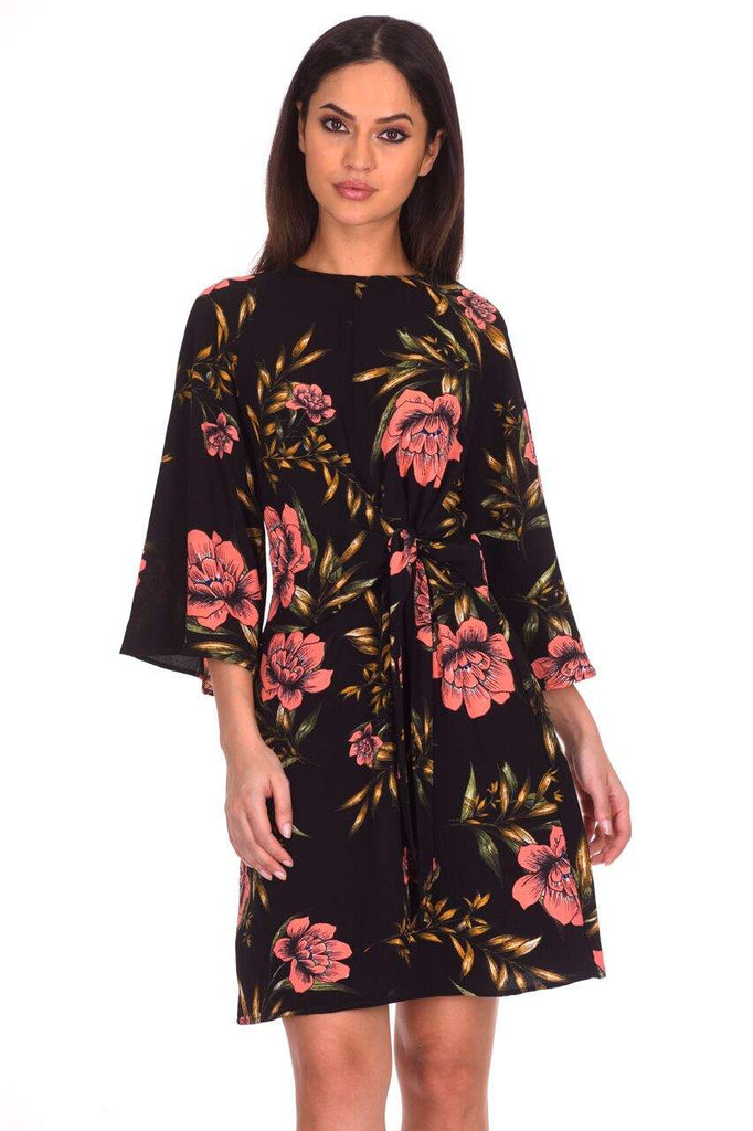 Black Floral Printed Tie Front Dress
