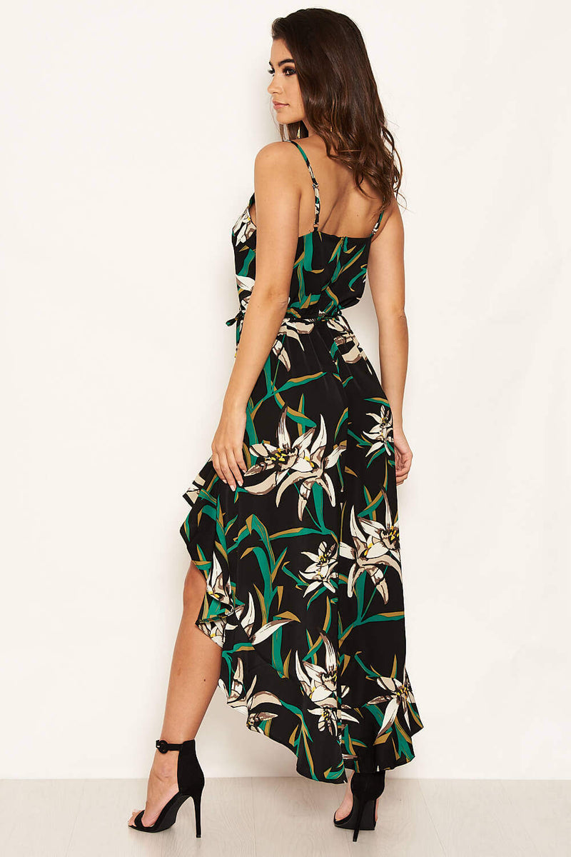 Black Floral Strappy Midi Dress with Side Split