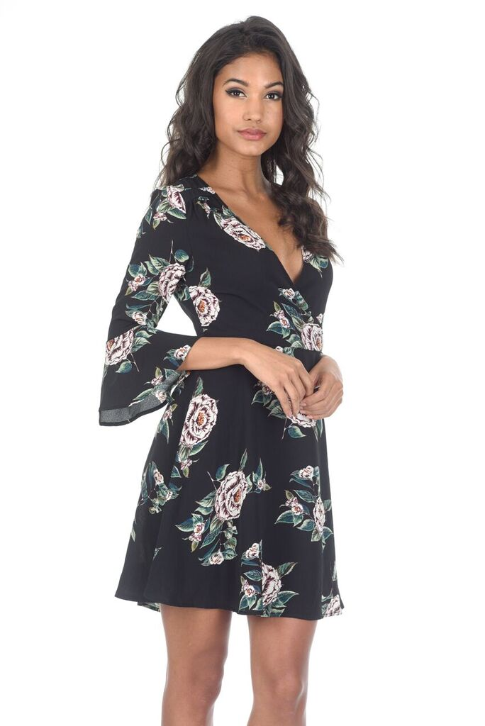 Black Floral V Neck Bell Sleeve Dress