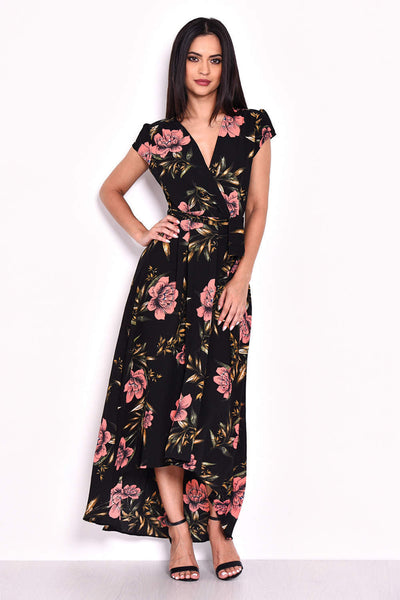 Black Floral Maxi Wrap Dress