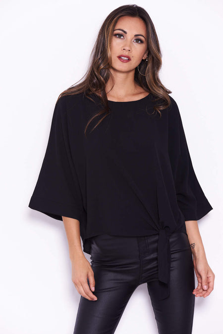 Black Striped Frill Top